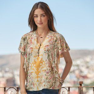 Sundance Arabella Floral Top Ruffle Sleeves medium